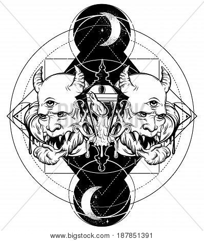 Vector hand drawn surreal illustration of devil vintage lantern moon and stars. Tattoo artwork. Template for card poster banner print for t-shirt coloring book.