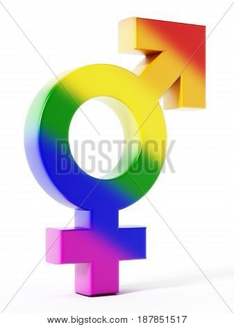 Male and female symbols united. 3D illustration.