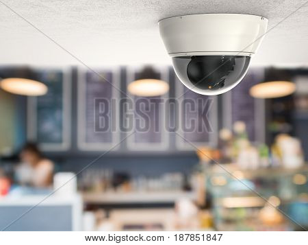 3d rendering security camera or cctv camera with restaurant background