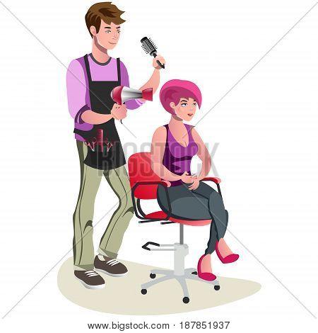 Barber shop. Cartoon vector illustration. Cute barber character