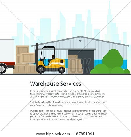 Flyer Warehouse with Forklift Truck on the Background of the City and Text Poster Transportation and Cargo Services and Storage Brochure Design Vector Illustration