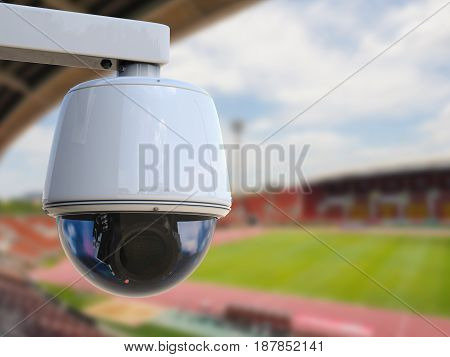 3d rendering security camera or cctv camera with stadium background
