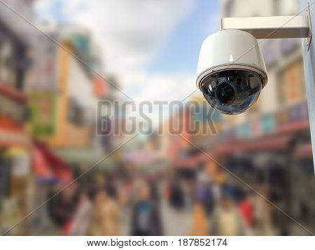 Security Camera Or Cctv Camera With Cityscape Background