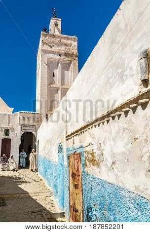 MOULAY IDRISS ZERHOUN ,MOROCCO - APRIL 7,2017 - In the streets of Moulay Idriss. Moulay Idriss is a town in northern Morocco is spread over two hills at the base of Mount Zerhoun.