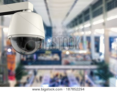 3d rendering security camera or cctv camera in department store