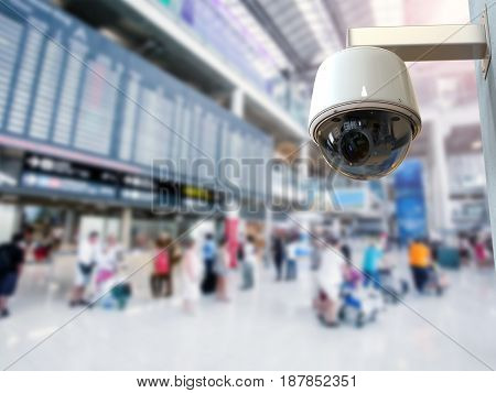 3d rendering security camera or cctv camera in airport