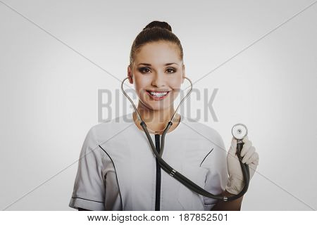 Portrait of female doctor with a stethoscope