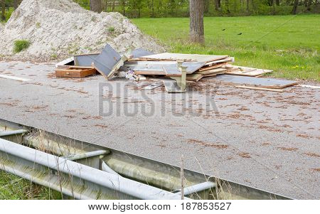 Waste At An Abandoned Road In The Netherlands