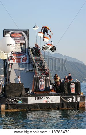 Acrobatic Jumps Competition With Bikes At Lugano