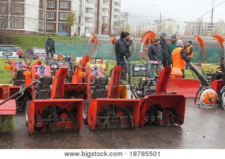 RUSSIA, MOSCOW - OCT 30: Exhibition of technics for cleaning of streets in SVAO disctrict