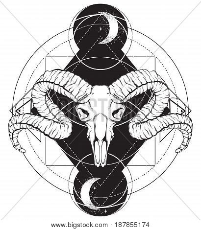 Vector hand drawn illustration. Artwork with skull of ram. Alchemy religion spirituality occultism tattoo art. Template for postcard banner poster print for t-shirt.