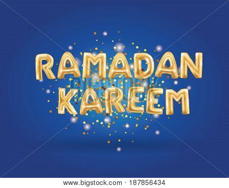 Gold letters balloon Ramadan Kareem. Balloon on golden glitter background. Shine decor balloons event design decoration. Balloons isolated air. Festival decorations celebration, Ramadan, anniversary