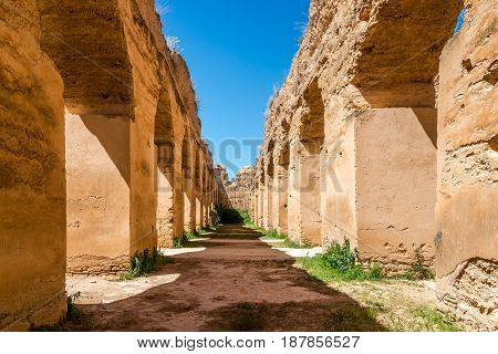 Royal Stables Heri es-Souani in Meknes city of Morocco