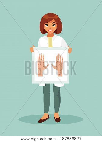 Doctor female dermatologist holding a poster with dermatological diseases. Banner with place for text. Vector illustration