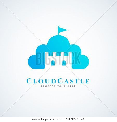 Logo design template for cloud service with cloud tower and flag. Vector illustration.