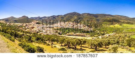 Panoramic view at the Moulay Idriss Zehroun town in Morocco