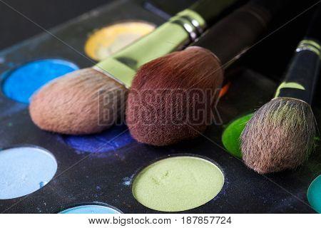 Professional makeup brushes, colorful palette, natural bristle, art