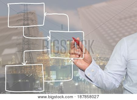 Hand of businessman hand draw empty rectangle shape for input data in presentation in your organization and work.