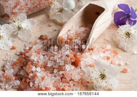 Pink Himalayan Sea Salt On A Wooden Background