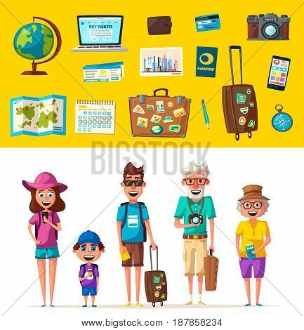 Happy family in travel. Journey of grandparents, parents and child. Cartoon vector illustration. Character design on travelers. Travelling together