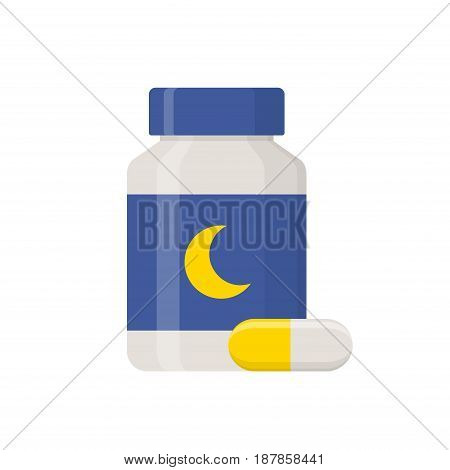 Sleeping pills islated on white background. Medical product, Pharmaceuticals bottle icon in flat style vector illustration.