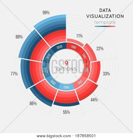 Vector circle chart infographic template for data visualization with 9 parts. Easy to edit and to build your own chart.