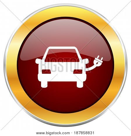 Electric car red web icon with golden border isolated on white background. Round glossy button.