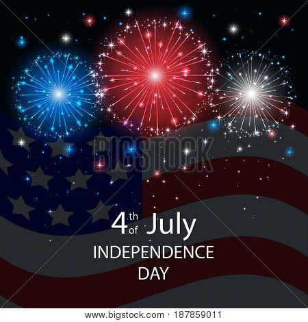 Independence day background with American flag and fireworks on dark sky. 4th of july, illustration.