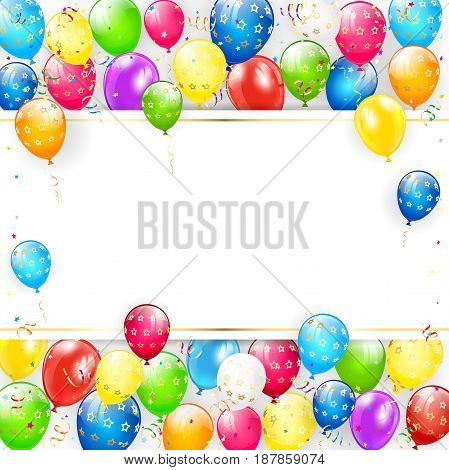 Greeting card with place for text. Frame of flying colorful balloons, multicolored streamers and confetti, illustration.