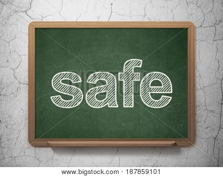 Privacy concept: text Safe on Green chalkboard on grunge wall background, 3D rendering