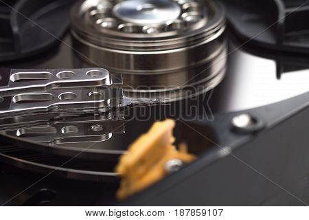 hard disk drive head open close up