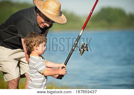 Fishing With Grandpa, Outdoors, Color Image, Toned Image