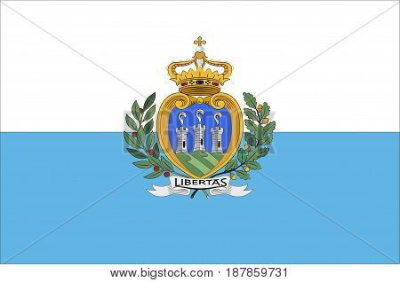 Flag of Republic San Marino also known as the Most Serene Republic of San Marino. Vector illustration