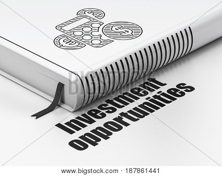 Finance concept: closed book with Black Calculator icon and text Investment Opportunities on floor, white background, 3D rendering