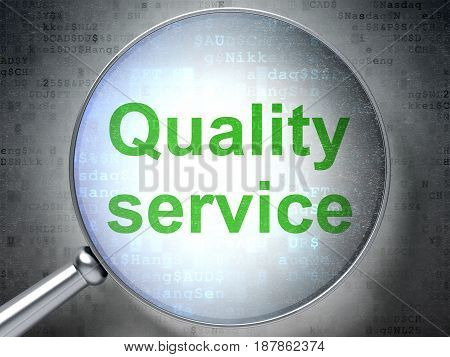 Business concept: magnifying optical glass with words Quality Service on digital background, 3D rendering