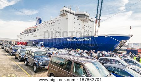 IJMUIDEN, NETHERLANDS - May 14 2017: DFDS car ferry Princess of Seaways getting ready to transport vehicles to Newcastle