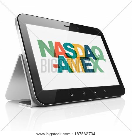 Stock market indexes concept: Tablet Computer with Painted multicolor text NASDAQ-AMEX on display, 3D rendering