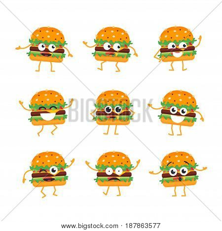 Burger Cartoon Character - modern vector template set of mascot illustrations. Gift images of burger, dancing, smiling, having a good time. Emoticons, happiness, emotions, attraction, giggle, surprise