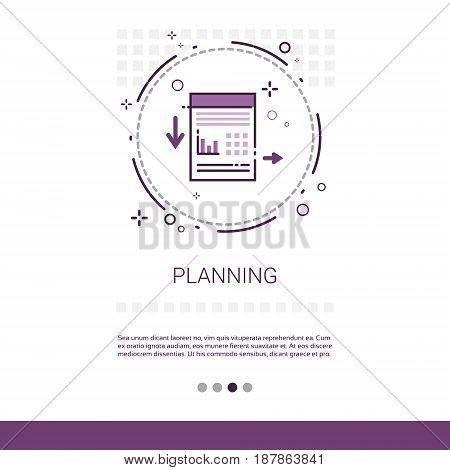 Process Planning Business Strategy Marketing Web Banner With Copy Space Vector Illustration