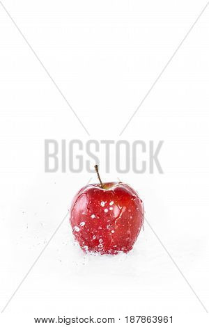Red Fresh Apple With Water Drops Isolated On White, Fresh Fruits Background