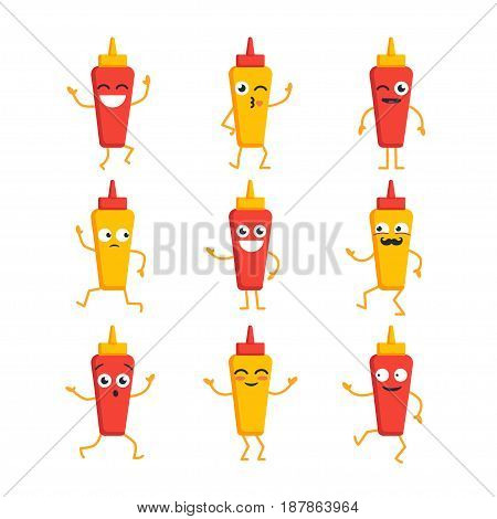 Ketchup and Mustard Cartoon Character - modern vector template set of mascot illustrations. Gift images of two essentials dancing, smiling, having a good time. Emoticons, emotions, surprise, blinking