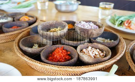 Ingredients of the cooking class with traditional Balinese food