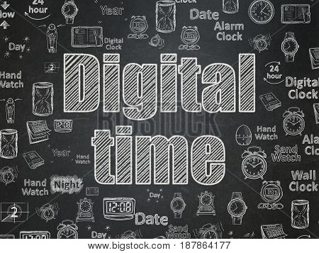 Timeline concept: Chalk White text Digital Time on School board background with  Hand Drawing Time Icons, School Board