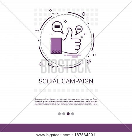 Social Campaign Management Business Content Information Web Banner With Copy Space Vector Illustration