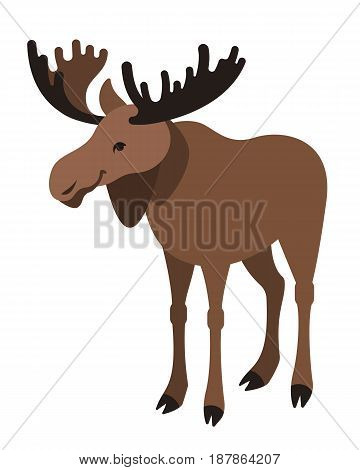 Cute smiling horned elk vector cartoon illustration. Wild zoo animal icon. Big brown moose with antlers standing. Isolated on white. Forest fauna childish character. Simple flat design element
