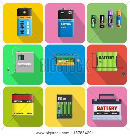 Colorful charging devices in square cells isolated on color background. Electric appliances to recharge energy for longer usage vector illustration. Power containers to restore devices in flat design