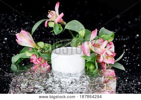 Face Cream In Plastic Jar With Flowers In Water, Natural Cosmetic Concept