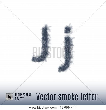 Smoke in Shape of the Letter J on White Background