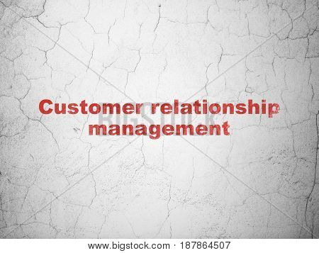 Marketing concept: Red Customer Relationship Management on textured concrete wall background