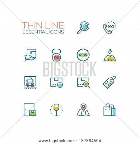 Delivery Service - modern vector single thin line icons set. Magnifying glass, phone, twenty four hour, floppy disk, new, truck, security, parcel, discount, map, bag